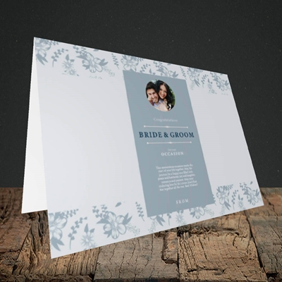 Picture of Floral Strip Edges - Pale Blue  B&G, Wedding Design, Landscape Greetings Card