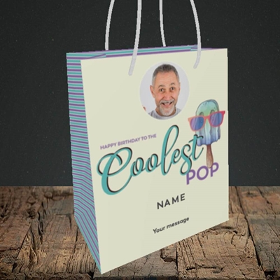 Picture of Coolest Pop, Birthday Design, Small portrait Gift Bag
