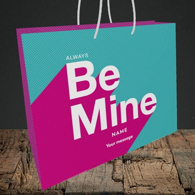 Picture of Always be Mine (type) (Without Photo), Valentine's Design, Medium Landscape Gift Bag