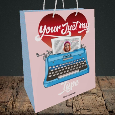 Picture of Just My Type, Valentine's Design, Medium Portrait Gift Bag