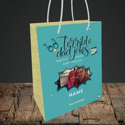 Picture of Terrible Dad Jokes, Father's Day Design, Small Portrait Gift Bag