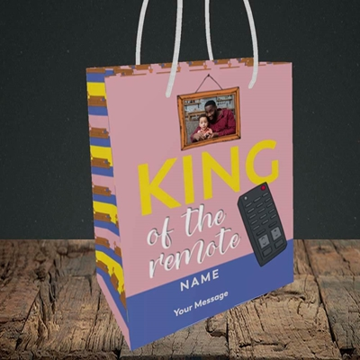 Picture of King Of The Remote, Father's Day Design, Small Portrait Gift Bag