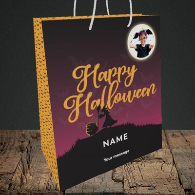 Picture of Witch On The Hill, Halloween Design, Medium Portrait Gift Bag