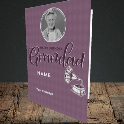 Picture of Grandad Gramophone, Birthday Design, Portrait Greetings Card