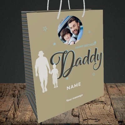 Picture of Daddy & Son, Birthday Design, Medium Portrait Gift Bag