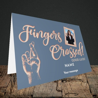 Picture of Fingers Crossed, Good Luck Design, Landscape Greetings Card