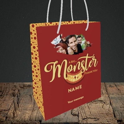 Picture of Monster Thank You, Thank You Design, Small Portrait Gift Bag