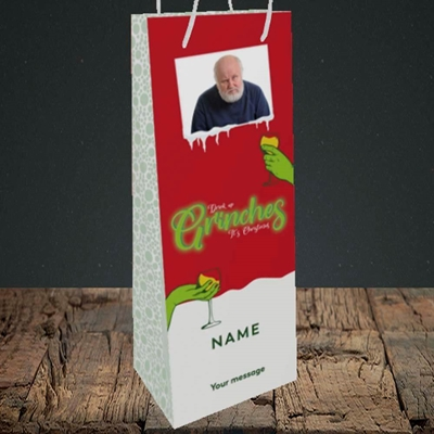 Picture of Drink Up Grinches, Christmas Design, Bottle Bag