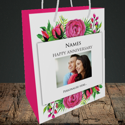 Picture of Flowers, Anniversary Design, Medium Portrait Gift Bag