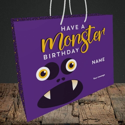 Picture of Monster Face(Without Photo), Birthday Design, Medium Landscape Gift Bag