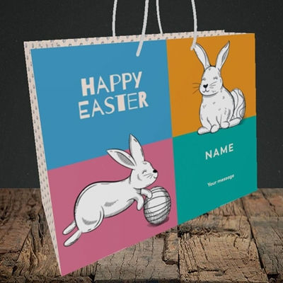 Picture of 4 Colour Bunnies(Without Photo), Easter Design, Medium Landscape Gift Bag
