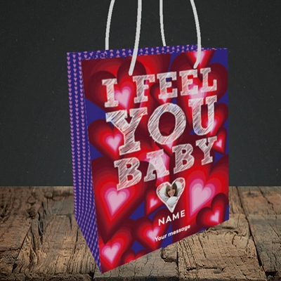 Picture of I Feel You Baby, Valentine's Design, Small Portrait Gift Bag