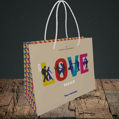 Picture of Let's Love Let's Dance(Without Photo), Valentine's Design, Small Landscape Gift Bag