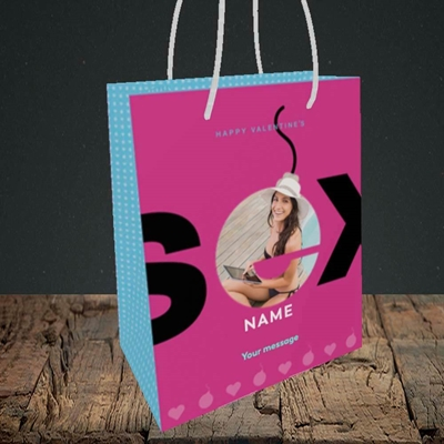 Picture of Sex Bomb - Pink, Valentine's Design, Small Portrait Gift Bag