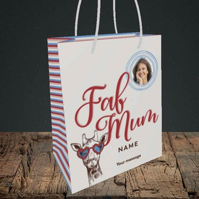Picture of Fab Mum, Birthday Design, Small portrait Gift Bag