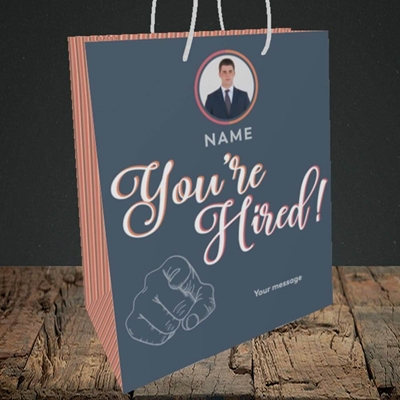 Picture of You're Hired, New Job Design, Medium Portrait Gift Bag