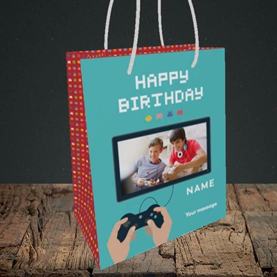 Picture of Space Invaders, Birthday Design, Small Portrait Gift Bag
