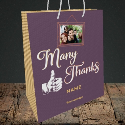 Picture of Many Thanks, Thank You Design, Medium Portrait Gift Bag