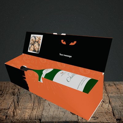 Picture of Cat, Halloween Design, Lay-down Bottle Box