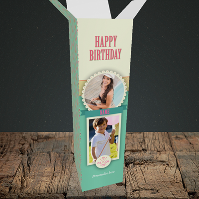 Picture of Roses, Birthday Design, Upright Bottle Box