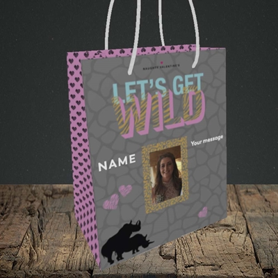 Picture of Let's Get Wild, Valentine's Design, Small Portrait Gift Bag