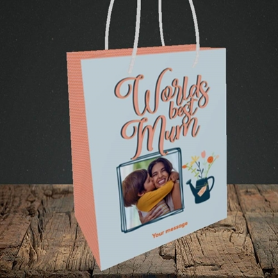 Picture of Worlds Best Mum, Mother's Day Design, Small Portrait Gift Bag