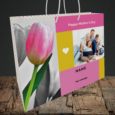 Picture of Mother's Day Tulips, Mother's Day Design, Medium Landscape Gift Bag
