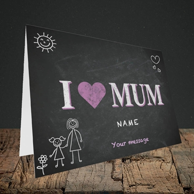 Picture of I Love Mum (Chalk Board),(Without Photo), Landscape Greetings Card
