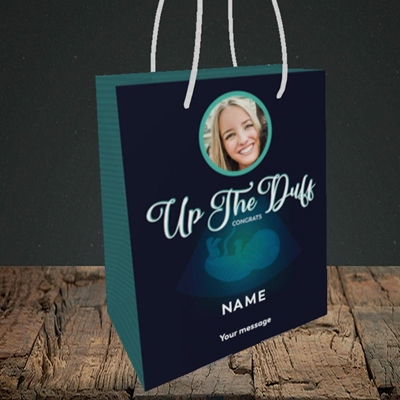 Picture of Up The Duff, Pregnancy Design, Small portrait Gift Bag