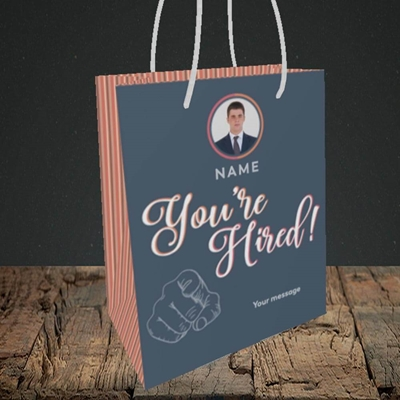 Picture of You're Hired, New Job Design, Small portrait Gift Bag
