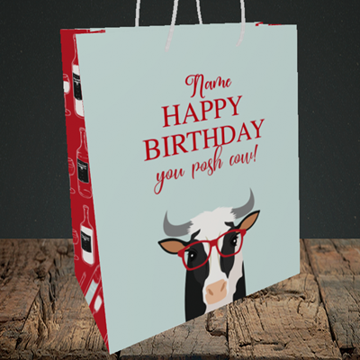 Picture of Cow, (Without Photo) Birthday Design, Medium Portrait Gift Bag