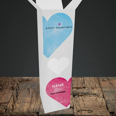 Picture of Joined Hearts (textured)(Without Photo), Valentine's Design, Upright Bottle Box