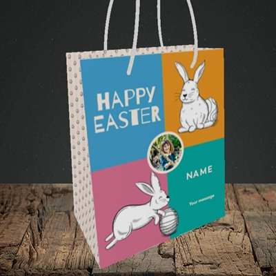 Picture of 4 Colour Bunnies, Easter Design, Small Portrait Gift Bag