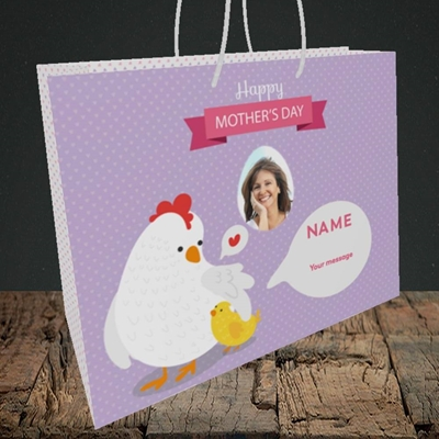 Picture of Hen & Chick, Mother's Day Design, Medium Landscape Gift Bag