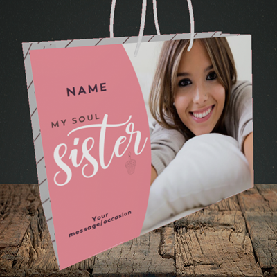 Picture of Soul Sister, Birthday Design, Medium Landscape Gift Bag