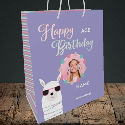 Picture of Cool Lama, Birthday Design, Medium Portrait Gift Bag