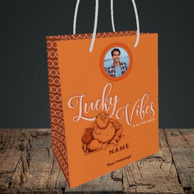 Picture of Lucky Vibes, Good Luck Design, Small Portrait Gift Bag