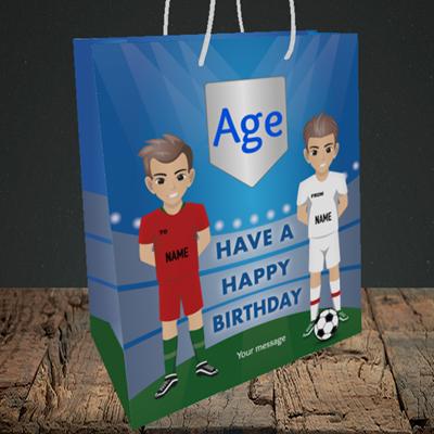 Picture of Football, (Without Photo and editable age) Birthday Design, Medium Portrait Gift Bag