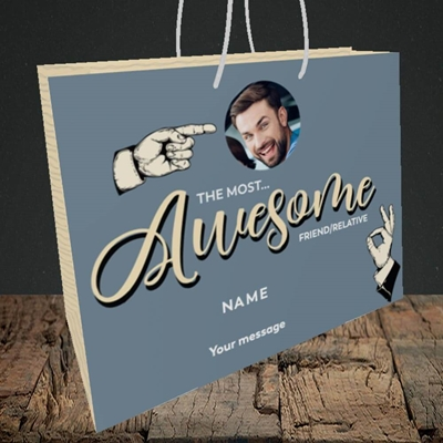 Picture of Awesome Person, Thank You Design, Medium Landscape Gift Bag