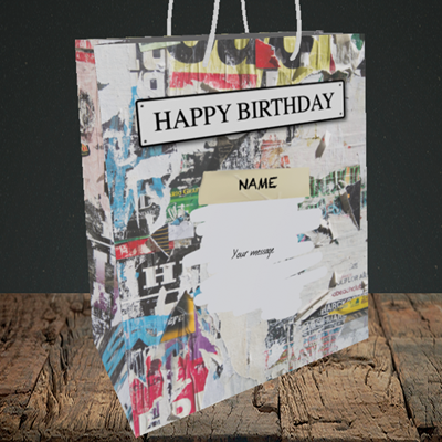 Picture of Graffiti, (Without Photo) Birthday Design, Medium Portrait Gift Bag