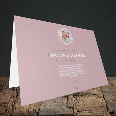 Picture of Traditional Foliage Pink B&G, Wedding Design, Landscape Greetings Card