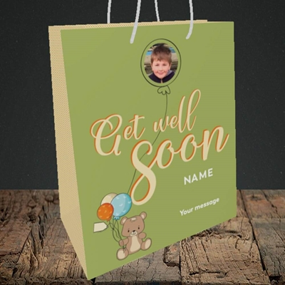 Picture of Bear with Balloons, Get Well Soon Design, Medium Portrait Gift Bag