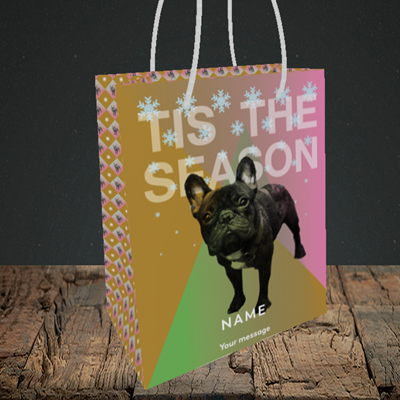 Picture of Tis The Frenchie(Without Photo), Christmas Design, Small Portrait Gift Bag