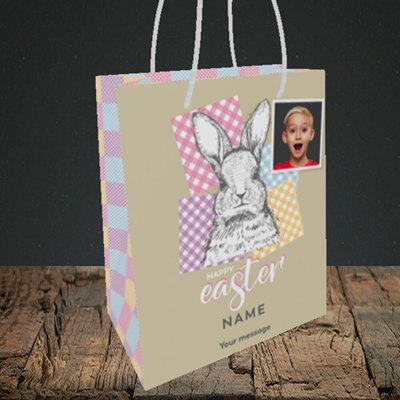 Picture of Patchwork Rabbit, Easter Design, Small Portrait Gift Bag