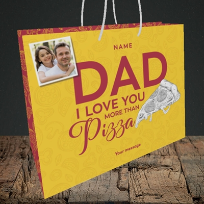 Picture of Love You More Than Pizza, Father's Day Design, Medium Landscape Gift Bag