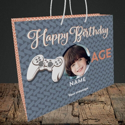 Picture of Gaming Control, Birthday Design, Medium Landscape Gift Bag