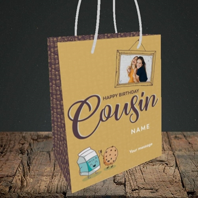 Picture of Cousin(M&C), Birthday Design, Small portrait Gift Bag