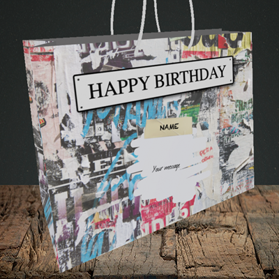 Picture of Graffiti, (Without Photo) Birthday Design, Medium Landscape Gift Bag