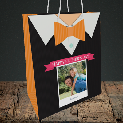 Picture of Bowtie, Father's Day Design, Medium Portrait Gift Bag