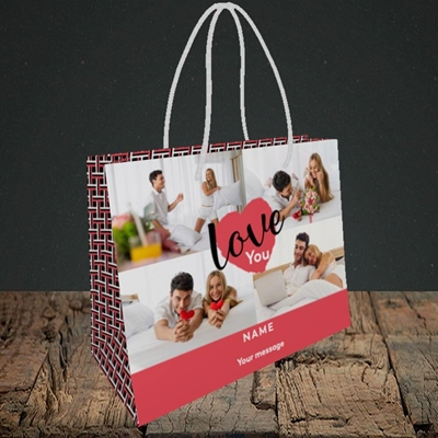 Picture of Central Heart, Valentine's Design, Small Landscape Gift Bag